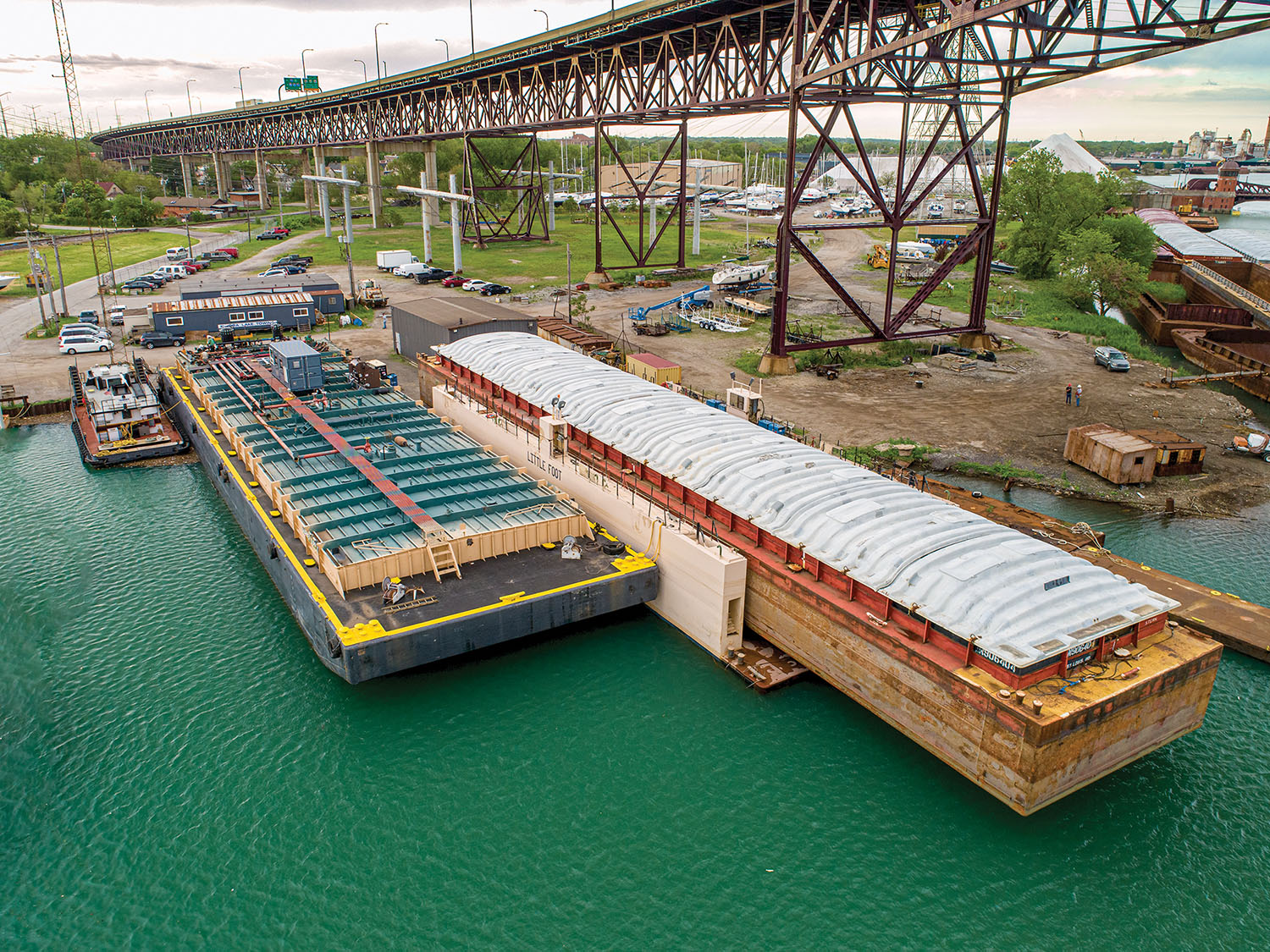 —photos by Jeff Ellis, courtesy of Kindra Marine Aerial photo of the drydock in use.