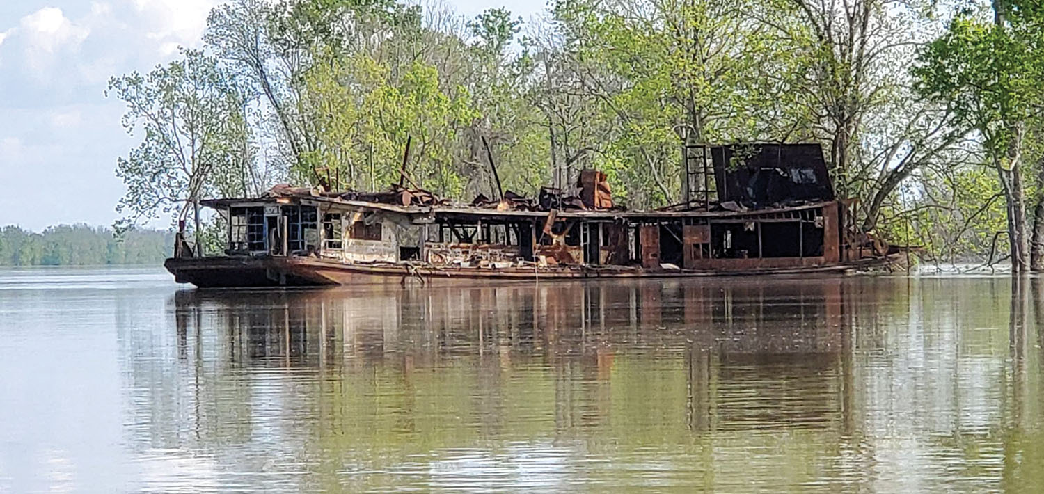 The burned-out hulk of the steam towboat Mamie S. Barrett in April 2020. (Photo courtesy of Theresa Johnson)