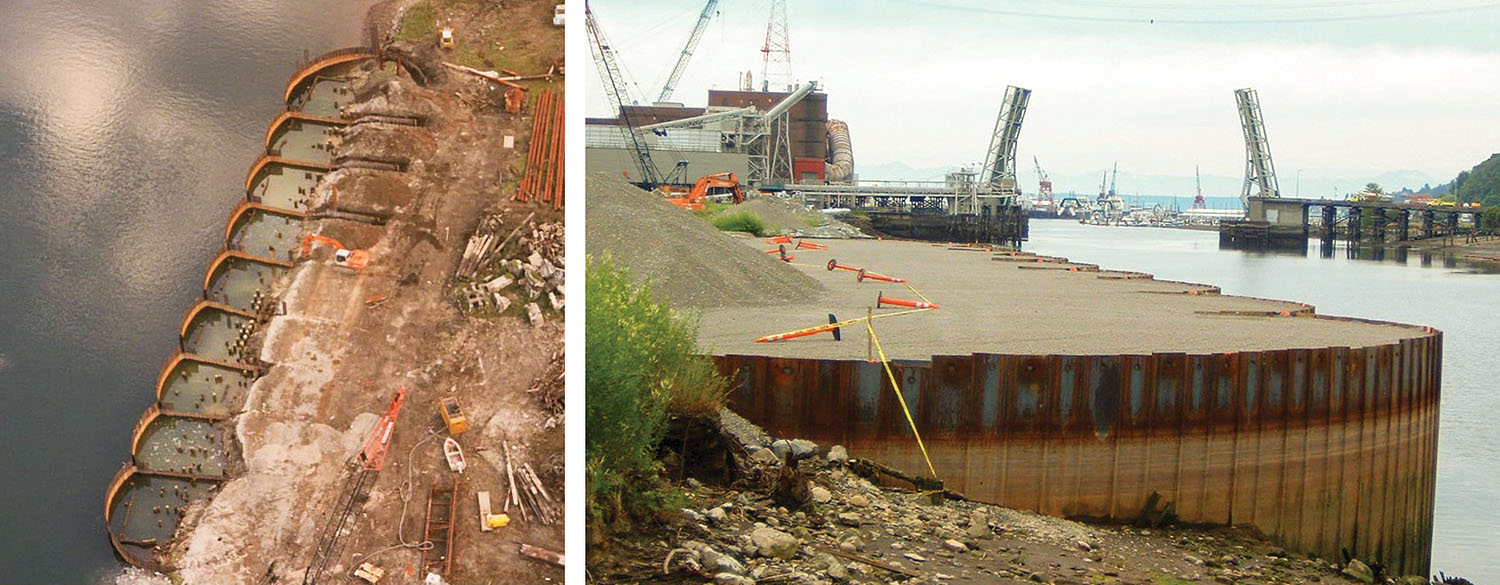 At left, a former pulp mill purchased by a pile-driving contractor in Tacoma, Wash., is in its original condition but with the Open Cell Sheet Pile System installed around it. The brownfield site was leaching contaminants and included treated piles and a submerged, treated timber bulkhead. At right, the same site after PND Engineers used the OCSP system to encapsulate the debris and control the leaching materials.  The OCSP bulkhead included a new berth developed for the contractor's floating equipment. (Photo courtesy of PND Engineers Inc.)
