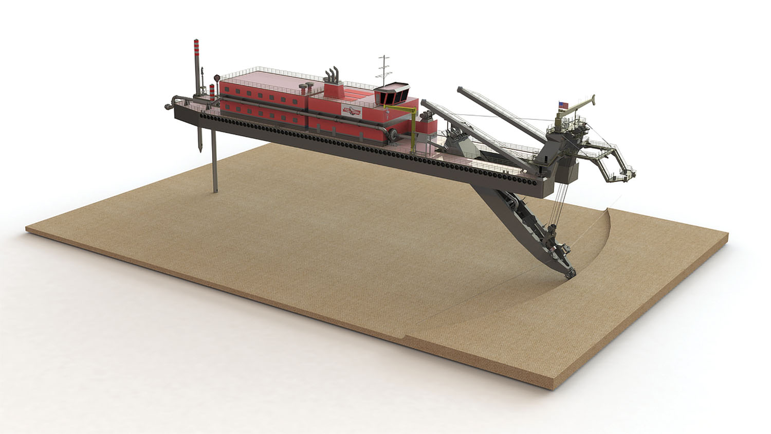 Concept design of the new 27-inch cutter suction dredge to be built for Mike Hooks LLC by Mobile Pulley Works.