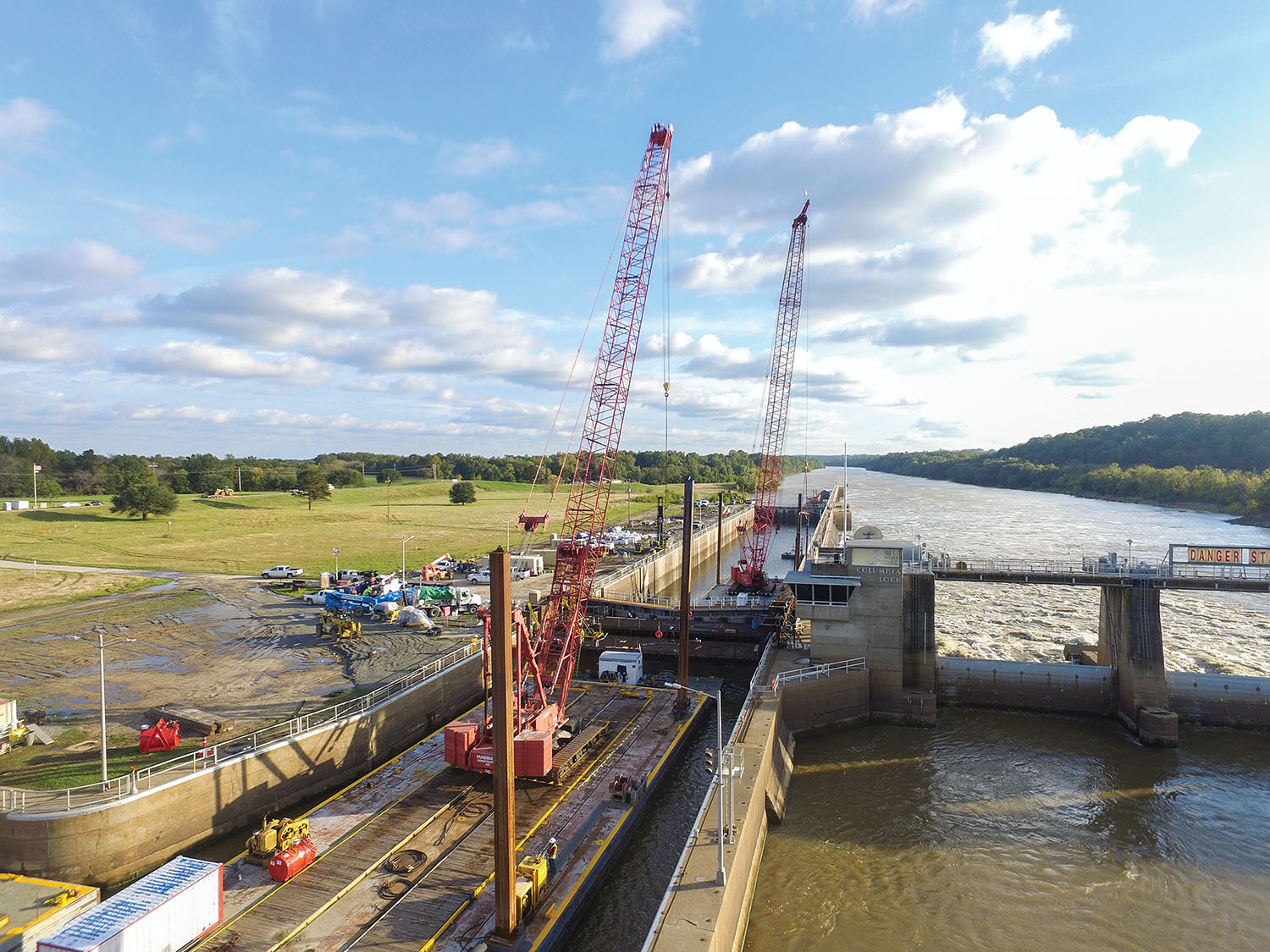 Massman crews at work at Columbia Lock on the Ouachita River. (Photo courtesy of Massman Construction)