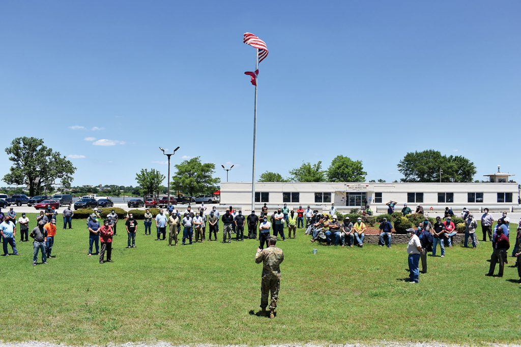 Memphis District Commander Col. Zachary Miller held a ceremony to mark the beginning of the 2020–2021 revetment season. (Photo courtesy of Memphis Engineer District)