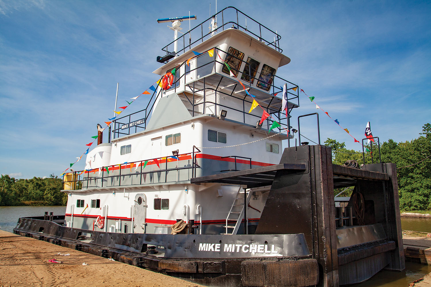 The mv. Mike Mitchell moored at Hardrock Marine Services in Lafitte, La., May 12. The Mike Mitchell is the newest vessel in Wood Towing's fleet. (Photo by Frank McCormack)