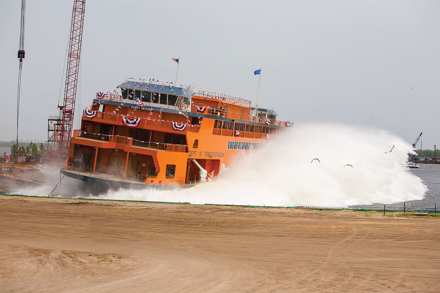 The ferry Sandy Ground splashes into the water at Eastern Shipbuilding's Allanton, Fla., shipyard. (Photo courtesy of Eastern Shipbuilding Group)