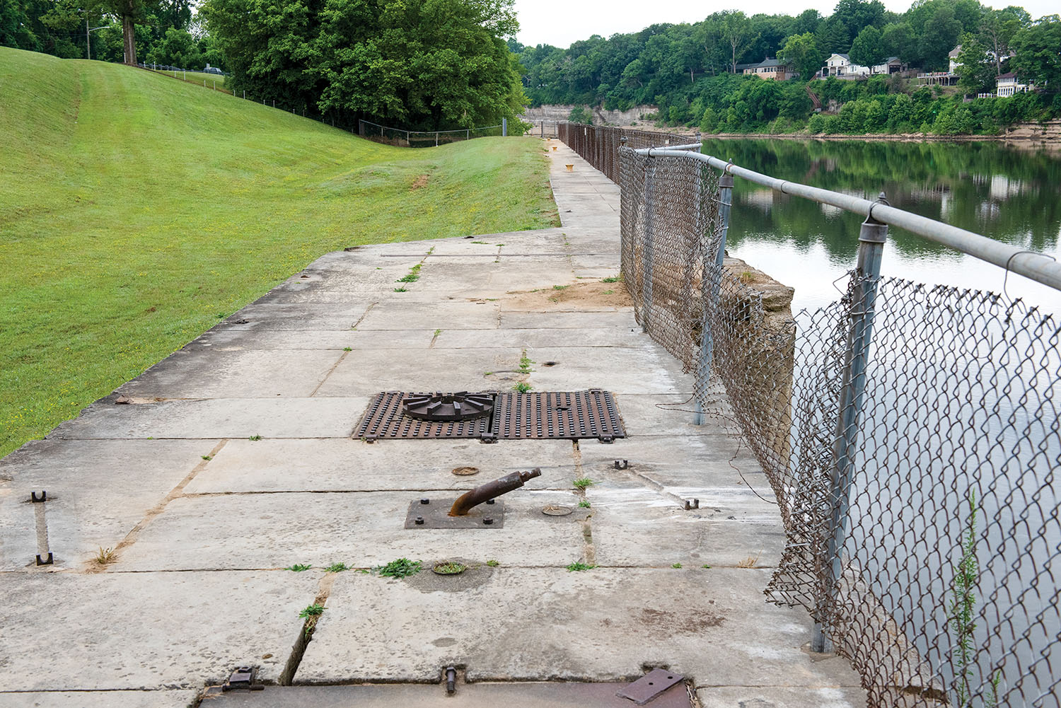 This is the land wall on the shoreline of the Cumberland River in Nashville, Tennessee. The Nashville Engineer District operated the old navigation lock from 1907 to 1956. Remnants of the lock's land wall, a  lockmaster's home and other outbuildings remain at Lock 2 Park. (Photo by Lee Roberts/Nashville Engineer District)