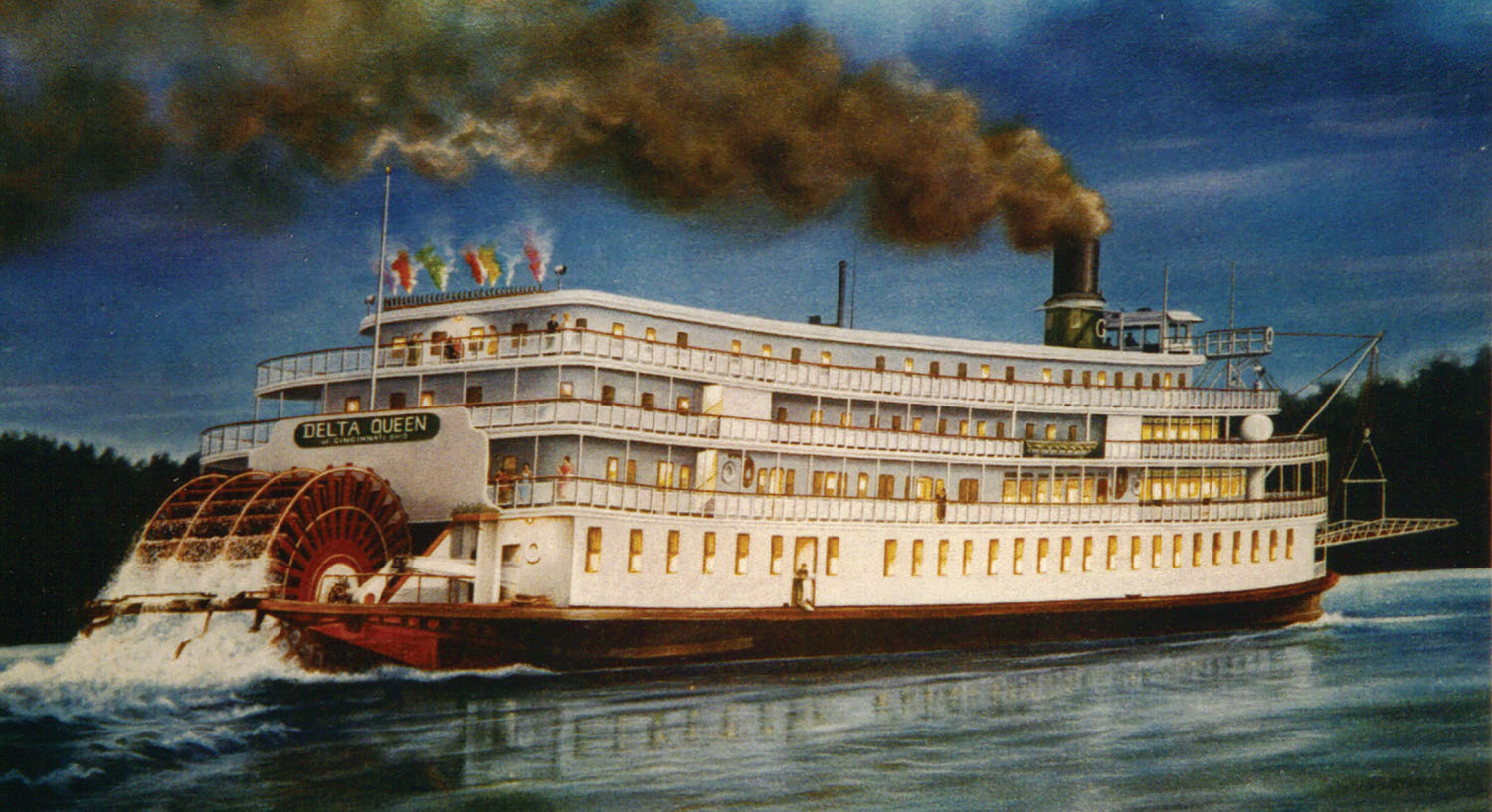 Painting of the Str. Delta Queen, done by Cincinnati steamboat artist Dorothea Frye (1921-2000) in 1963. (Keith Norrington collection)