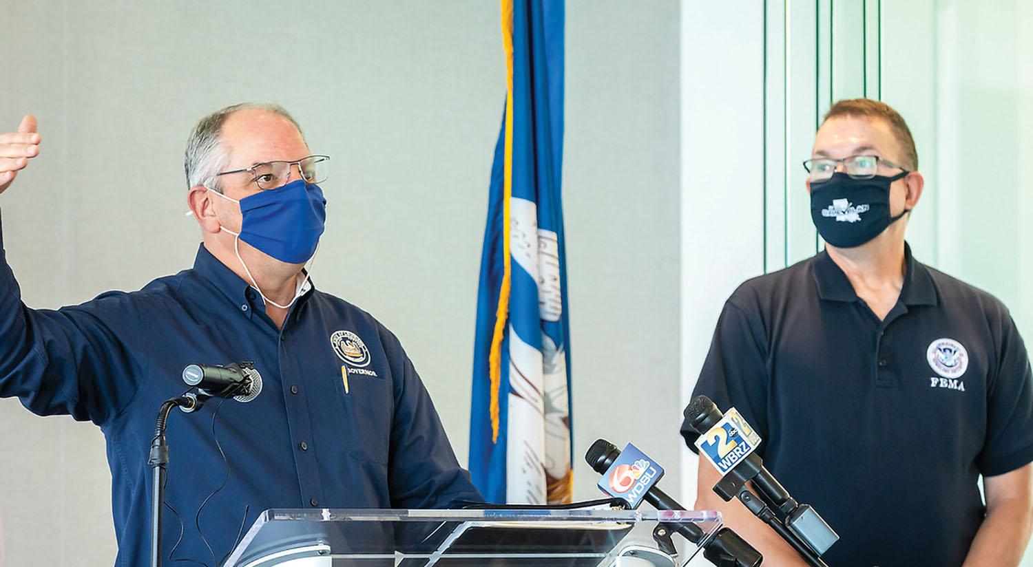 Gov. John Bel Edwards and FEMA Administrator Pete Gaynor speak at a news conference July 13 announcing a smart port initiative between the Water Institute of the Gulf, Louisiana Economic Development and the Port of New Orleans. (Photo courtesy of the Water Institute of the Gulf)