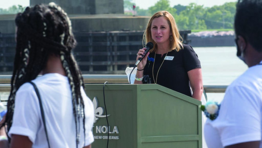 —Photo courtesy of the Port of New Orleans Port of New Orleans President and CEO Brandy Christian speaks at a memorial service held June 30 at the port to honor family members, friends and colleagues from the maritime industry who had died due to COVID-19.