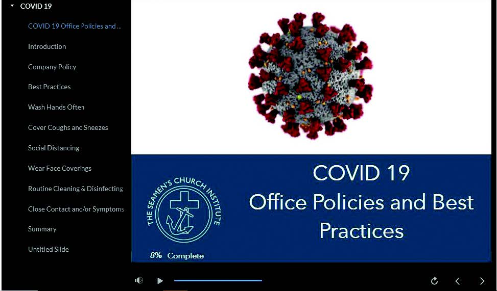 This screenshot shows the title page for Seamen's Church Institute's free, interactive e-learning course, focusing on best office policies for preventing the spread of the novel coronavirus.