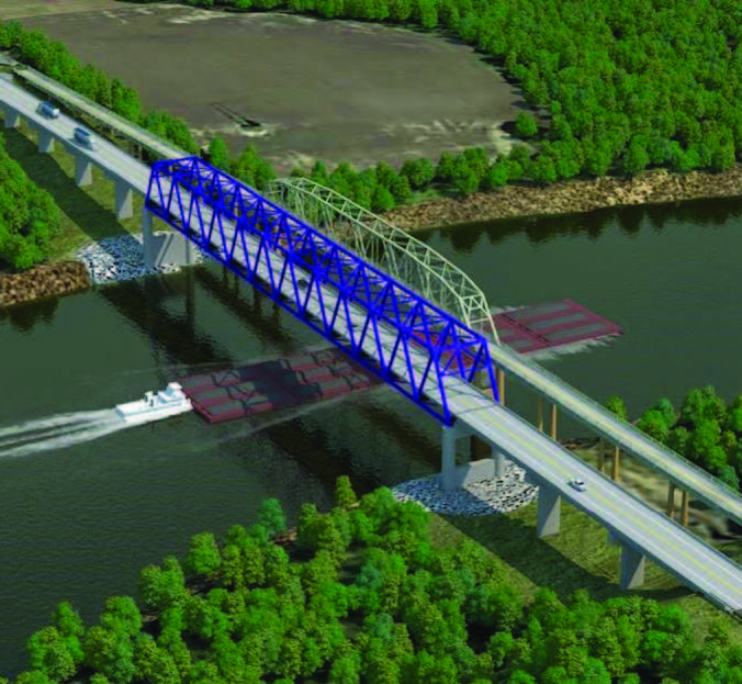 Photo courtesy of the Kentucky Transportation Cabinet. A rendering shows a tow passing beneath the new U.S. 60 bridge over the Cumberland River to be built at Smithland, Ky.