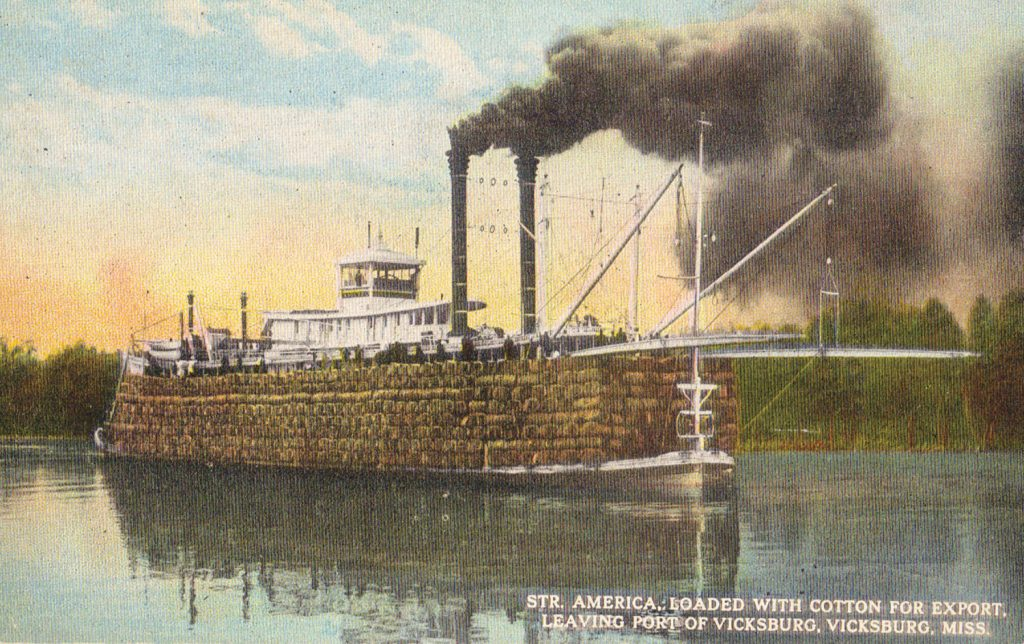 A vintage post card of the America loaded with cotton bales. (Keith Norrington collection)