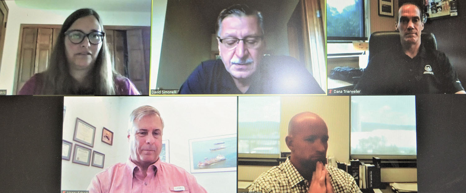 COVID-19 safety panelists participating in the July 27 webinar were, top, from left: Margaret Davis, David Simonelli and Dana Trieweiler; bottom, from left: Henry Schorr and Mike Binsfeld.