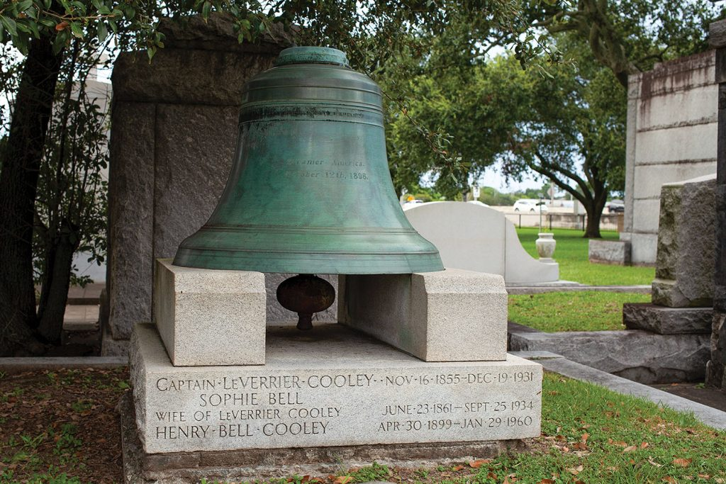The roof bell of the America at Capt. L.V. Cooley's grave in Metairie, La. (Photo by Frank McCormack)