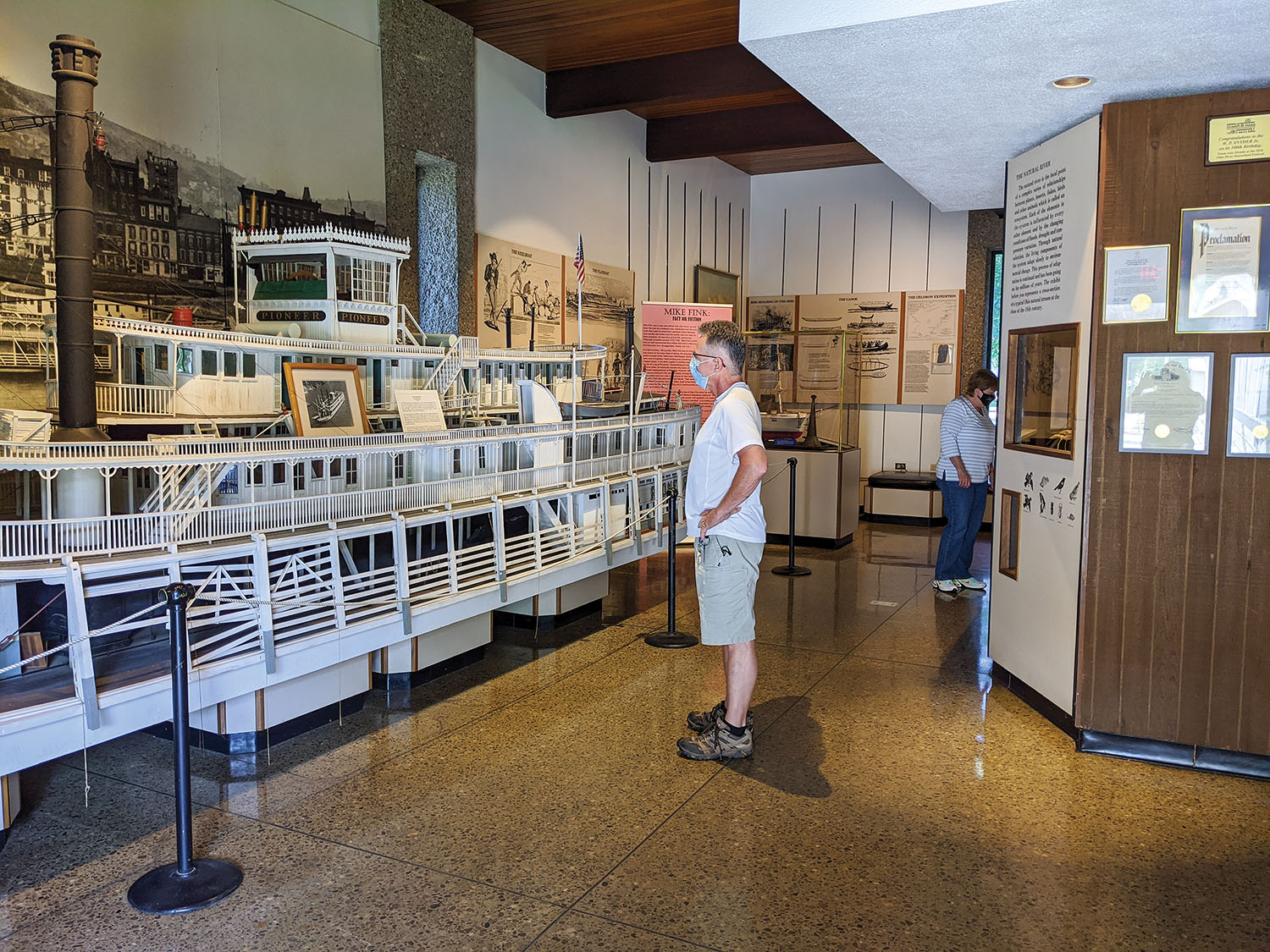 Masked visitors observe social distancing while visiting the Ohio River Museum in Marietta, Ohio. (Photo courtesy of Ohio River Museum)