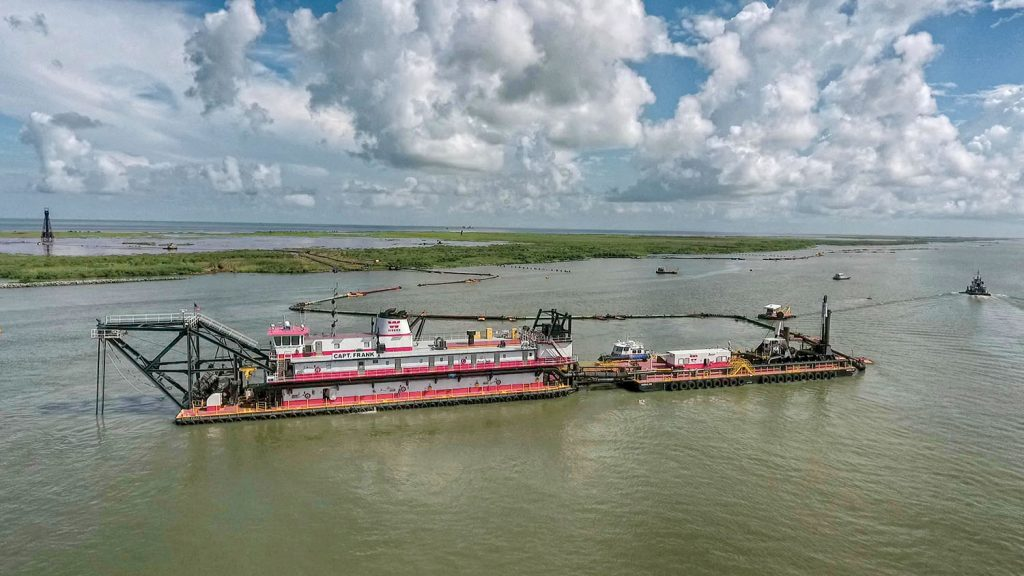The Weeks Marine cutterhead dredge Capt. Frank works near Southwest Pass near the mouth of the Mississippi River. (Photo courtesy of Big River Coalition/P.J. Hahn)