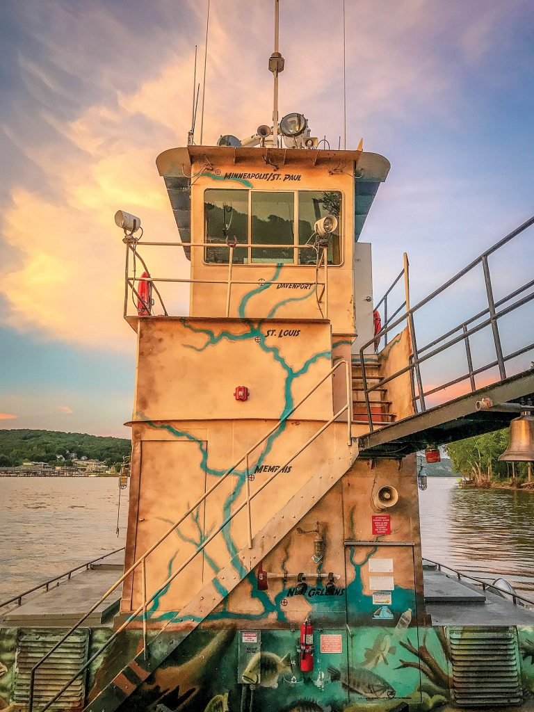 Living Lands and Waters' towboat, the River Cleanup II, prepared for its second Subchapter M inspection this year. (Photo courtesy of Living Lands & Waters)