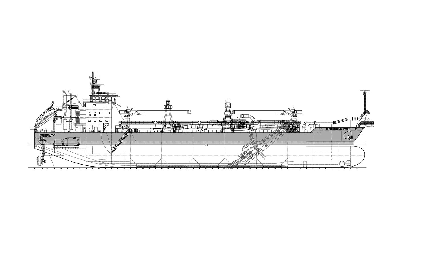 Drawing of new dredge to be built by Keppel AmFELS in Brownsville, Texas,