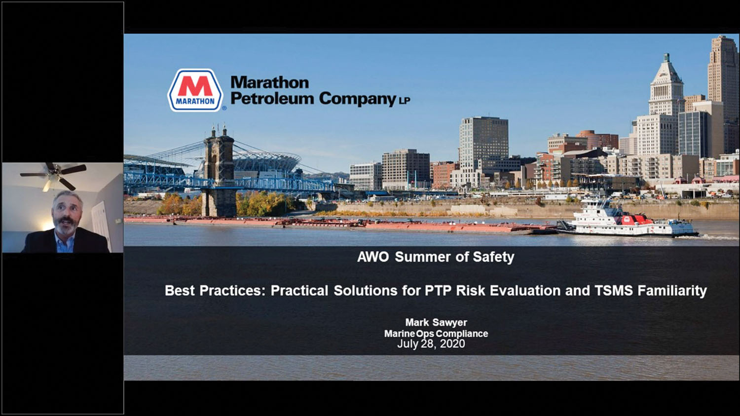 Screenshot from July 28 webinar, Sharing is Caring – Industry Safety Leaders Present Lessons Learned and Best Practices. The webinar featured a varied group of presenters, including (pictured) Mark Sawyer of Marathon Petroleum.