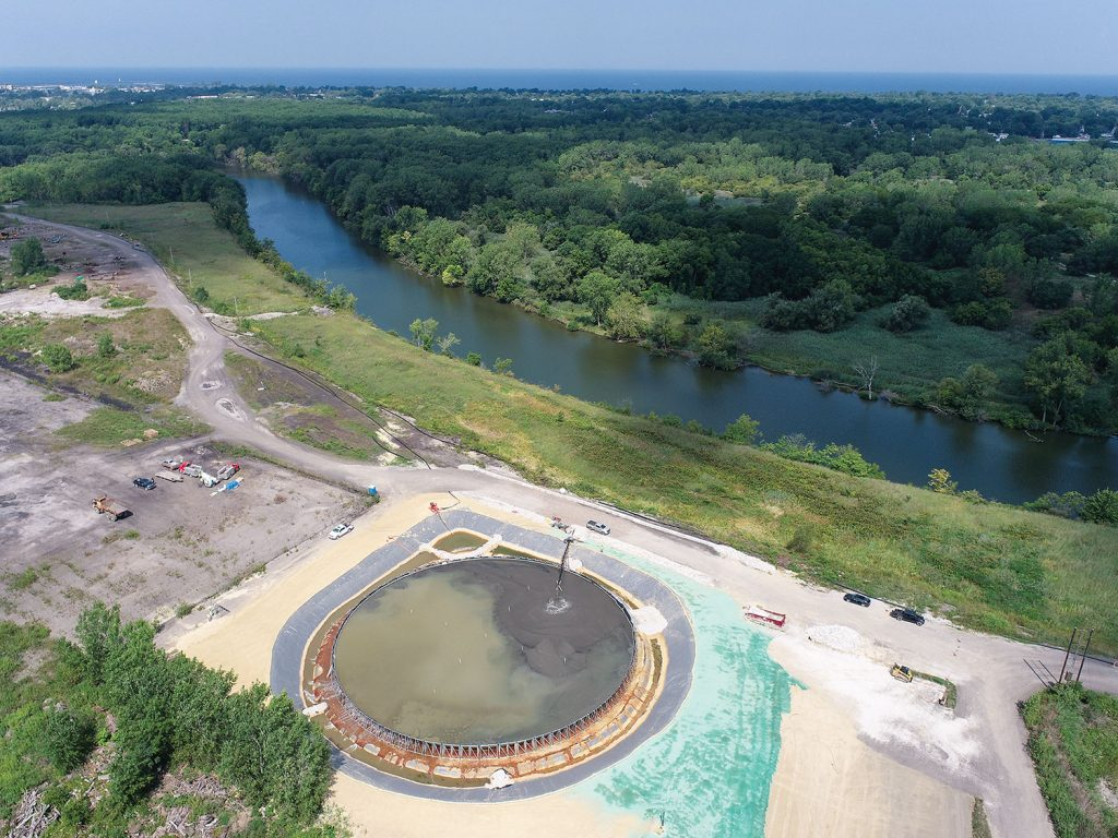 Aerial view of the Geopool near the Black River at Lorain, Ohio. photo by (Chip Wendt, Coldwater Consulting LLC)