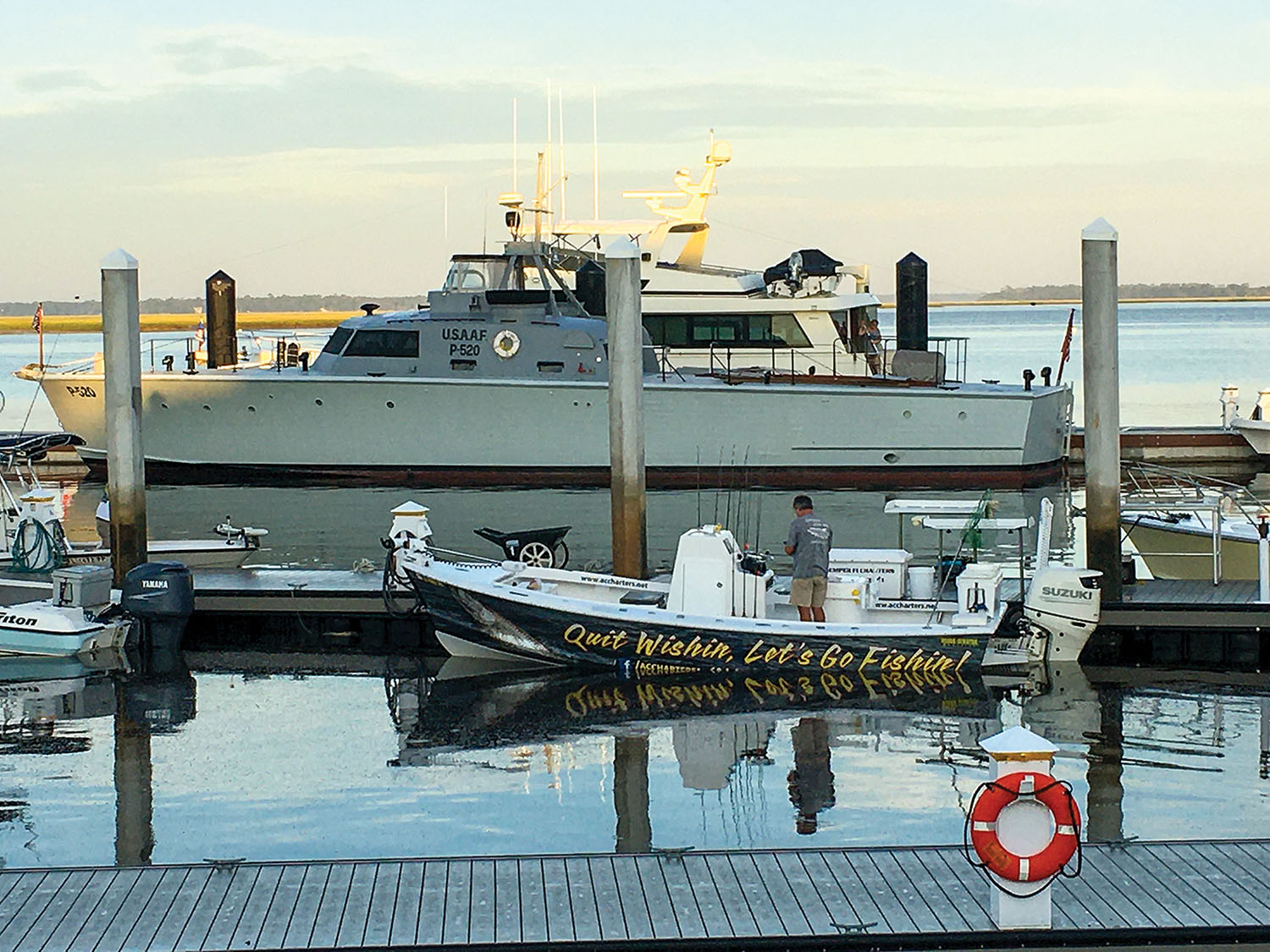 The P-520, believed to be the last U.S. Army Air Corps rescue boat still in military configuration, floats in a marina near the Florida/Georgia line. Neither it nor a World War II submarine are now headed to the Louisville, Ky., area.