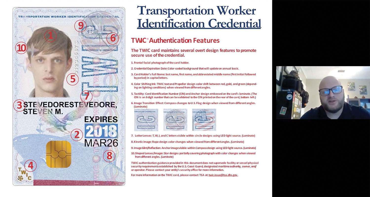 Screenshot of Joseph Powell's Inland Marine Expo presentation, in which he outlines various security features of a TWIC.