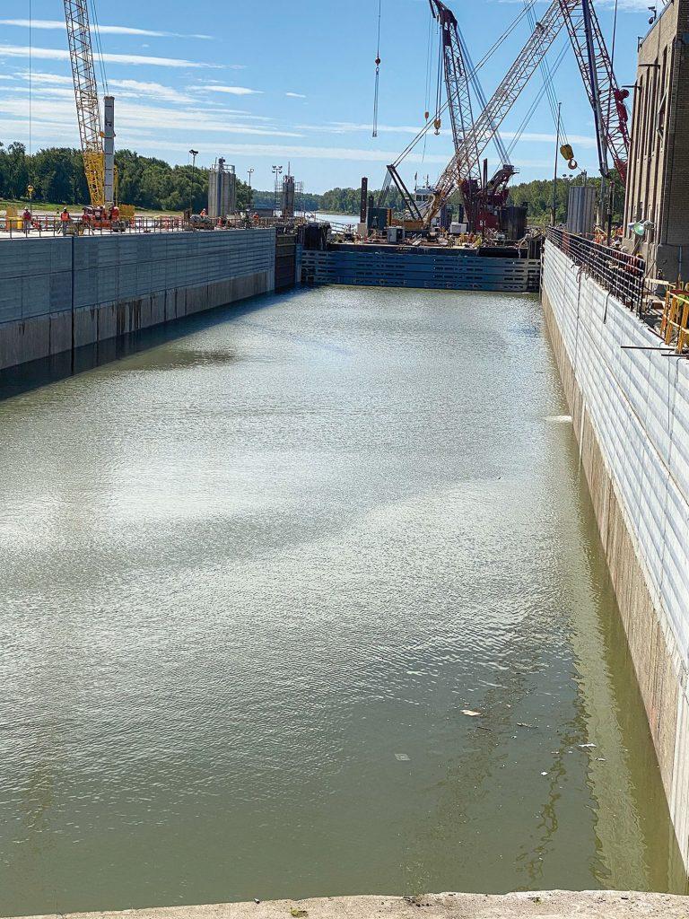 Newly resurfaced lock walls at LaGrange Lock and Dam. (Photo courtesy of Shimmick Construction Company Inc.)