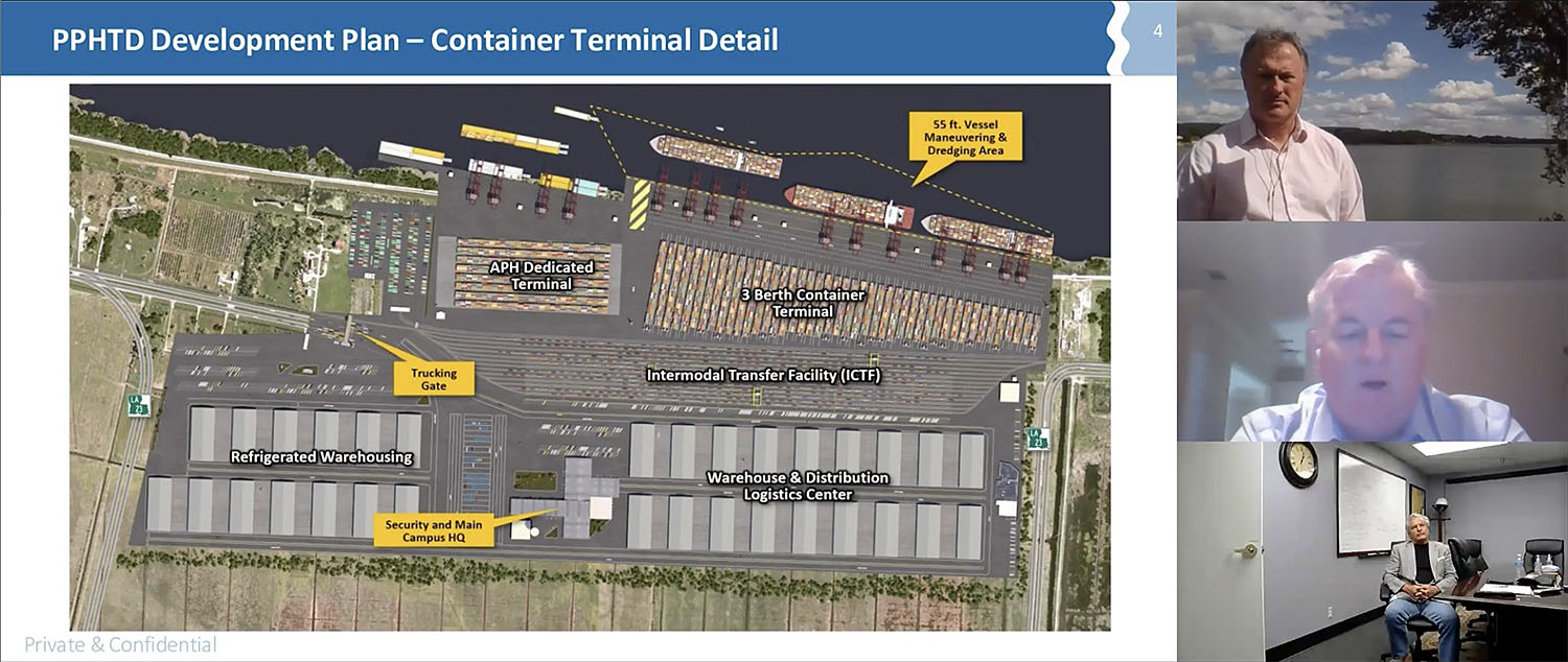 A screenshot from the Inland Marine Expo panel on the Louisiana Gateway Terminal shows the layout of the proposed terminal and panelists Ken Eriksen, Sal Litrico and Sandy Sanders.