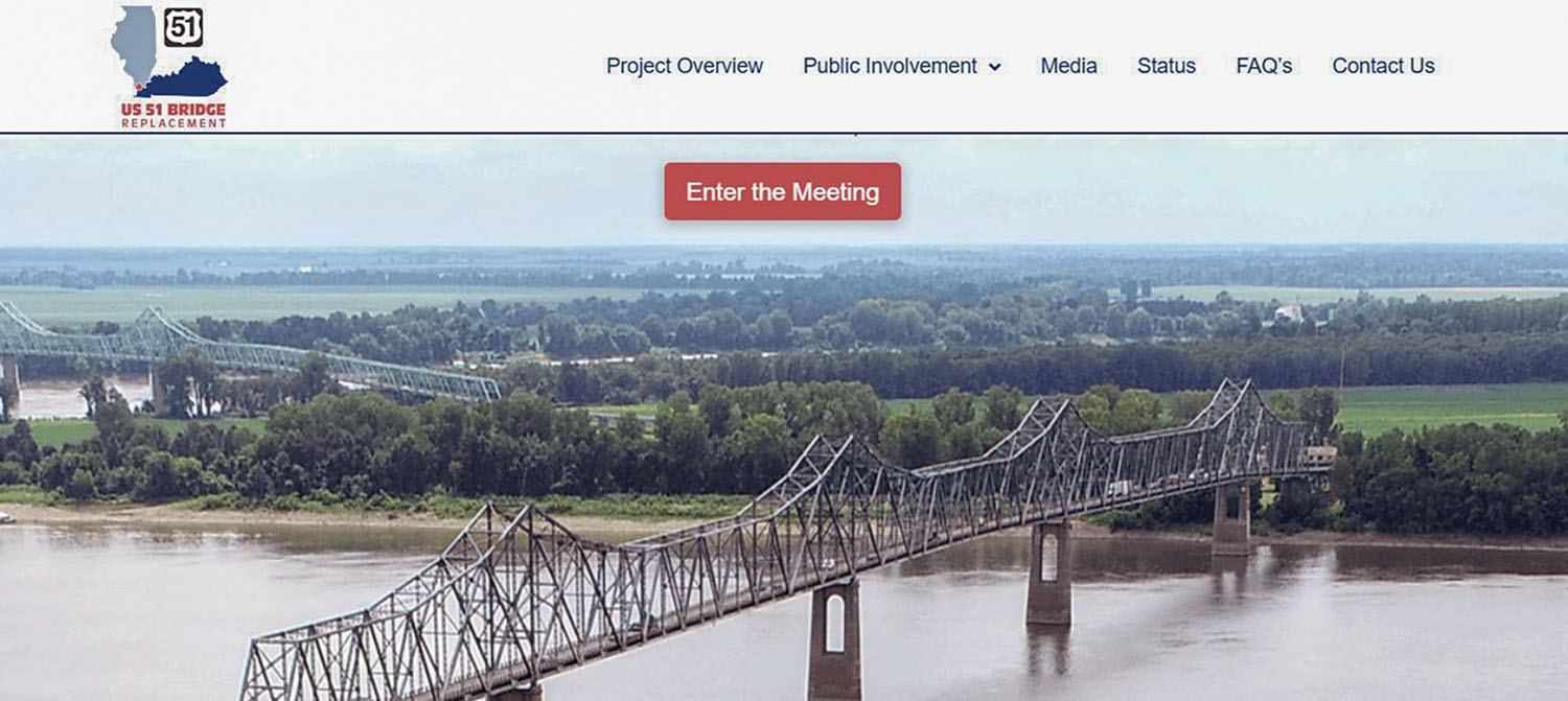 A screenshot of the www.US51bridge.com website includes the existing Ohio River bridge between Wickliffe, Ky., and Cairo, Ill. In the distance is the bridge over the Mississippi River between Cairo and Bird's Point, Mo.
