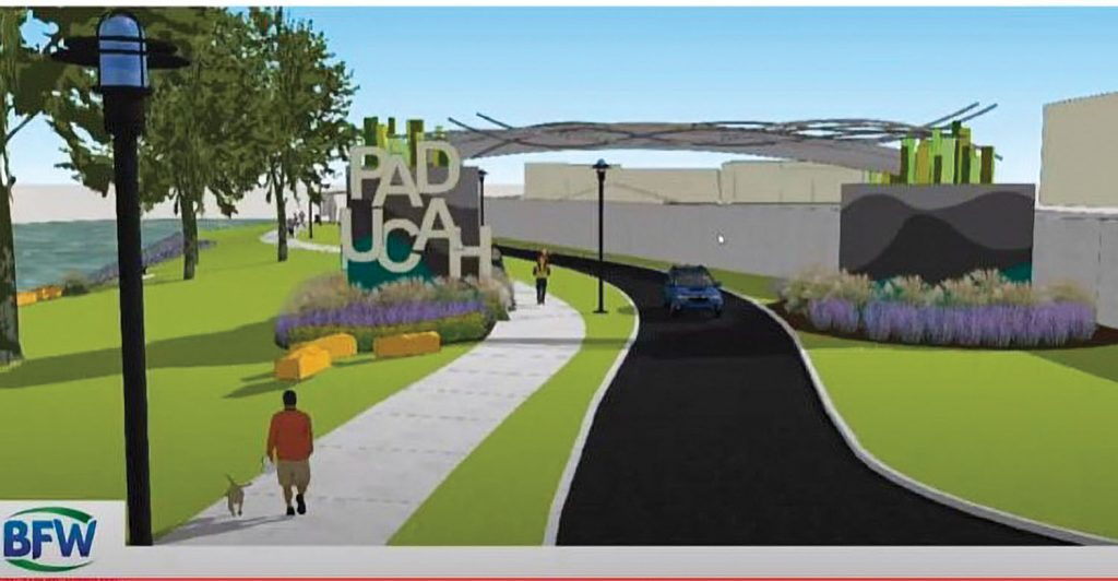 Concept art shows how remnants of concrete foundations for a conveyor belt that used to cross over the floodwall create a welcome sign for people arriving in Paducah by boat. (Photo courtesy of the City of Paducah)