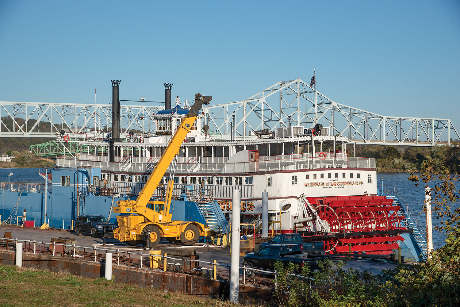 The Belle of Louisville sits in drydock after undergoing Coast Guard inspection and awaiting completion of repairs before returning to Louisville for the winter. (Photo by Jim Ross)