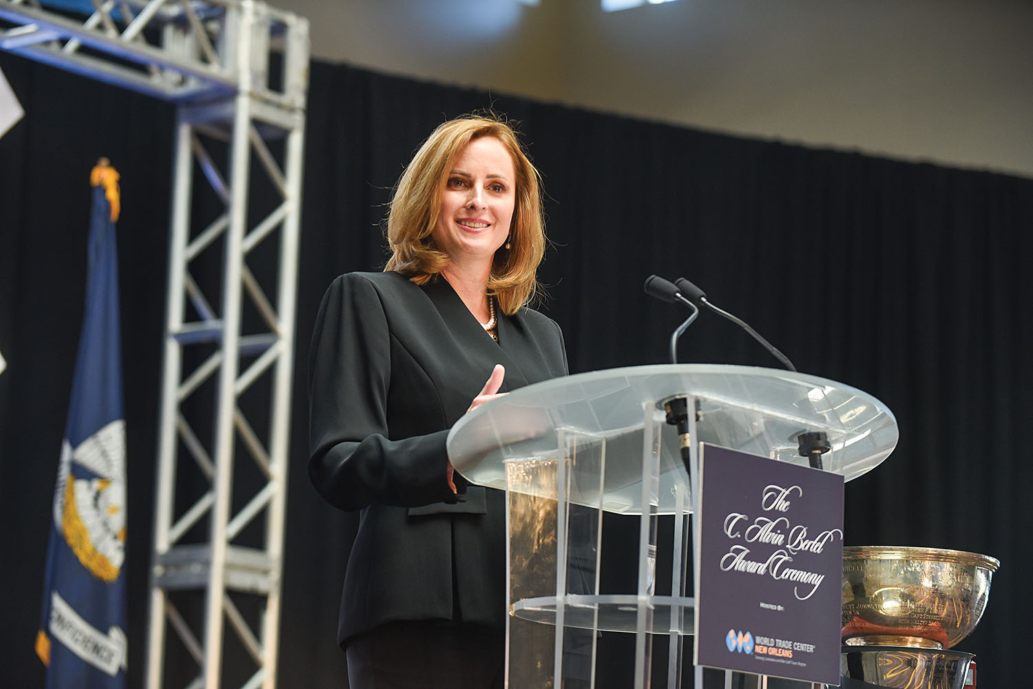 Port NOLA President and CEO and NOPB CEO Brandy Christian speaks at the C. Alvin Bertel Award ceremony at the annual World Trade Center event held November 18. (Photo courtesy of Port NOLA)