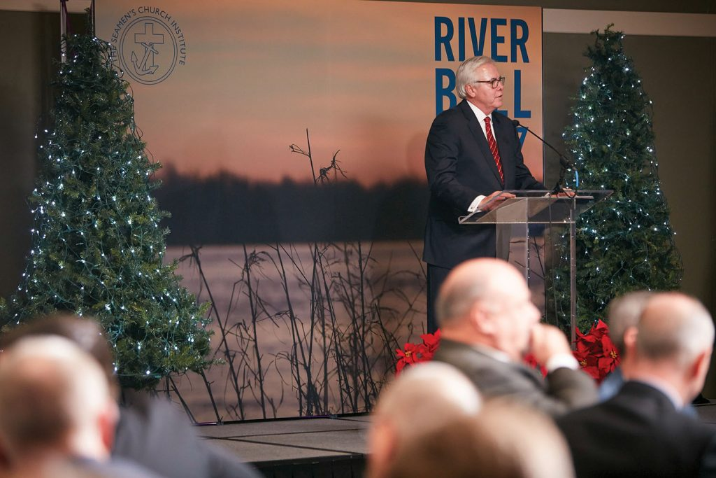 Among Mark Knoy's many leadership roles, he was a chairman of the Seamen's Church Institute, and he was a regular speaker at the annual River Bell Awards Luncheon.