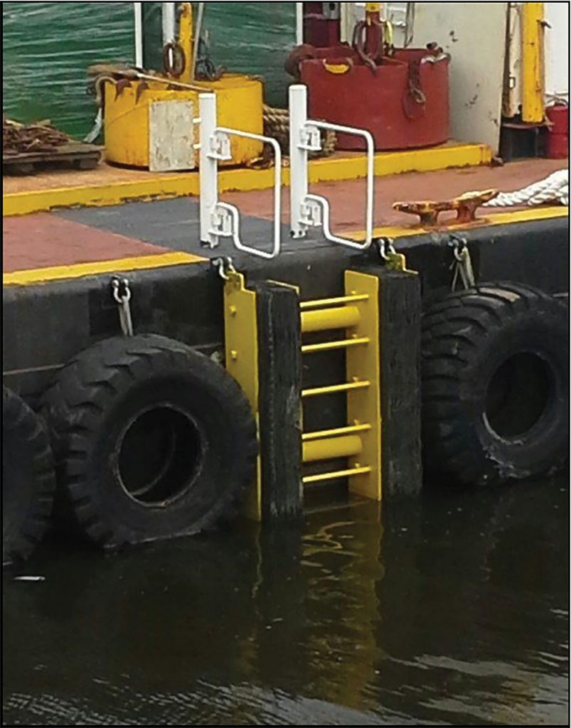 Removable ladder type installed on barge. (Photo courtesy of Schuyler Maritime)
