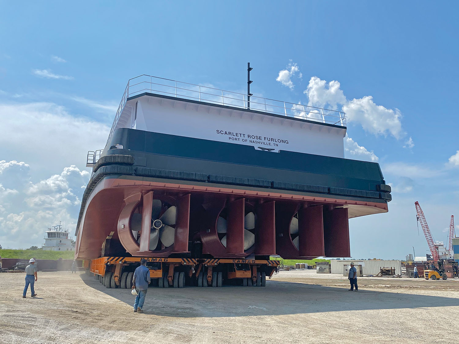 """The Scarlett Rose Furlong features a new """"twin differential"""" steering rudder system designed by CT Marine. (Photo courtesy of Hines Furlong Line)"""