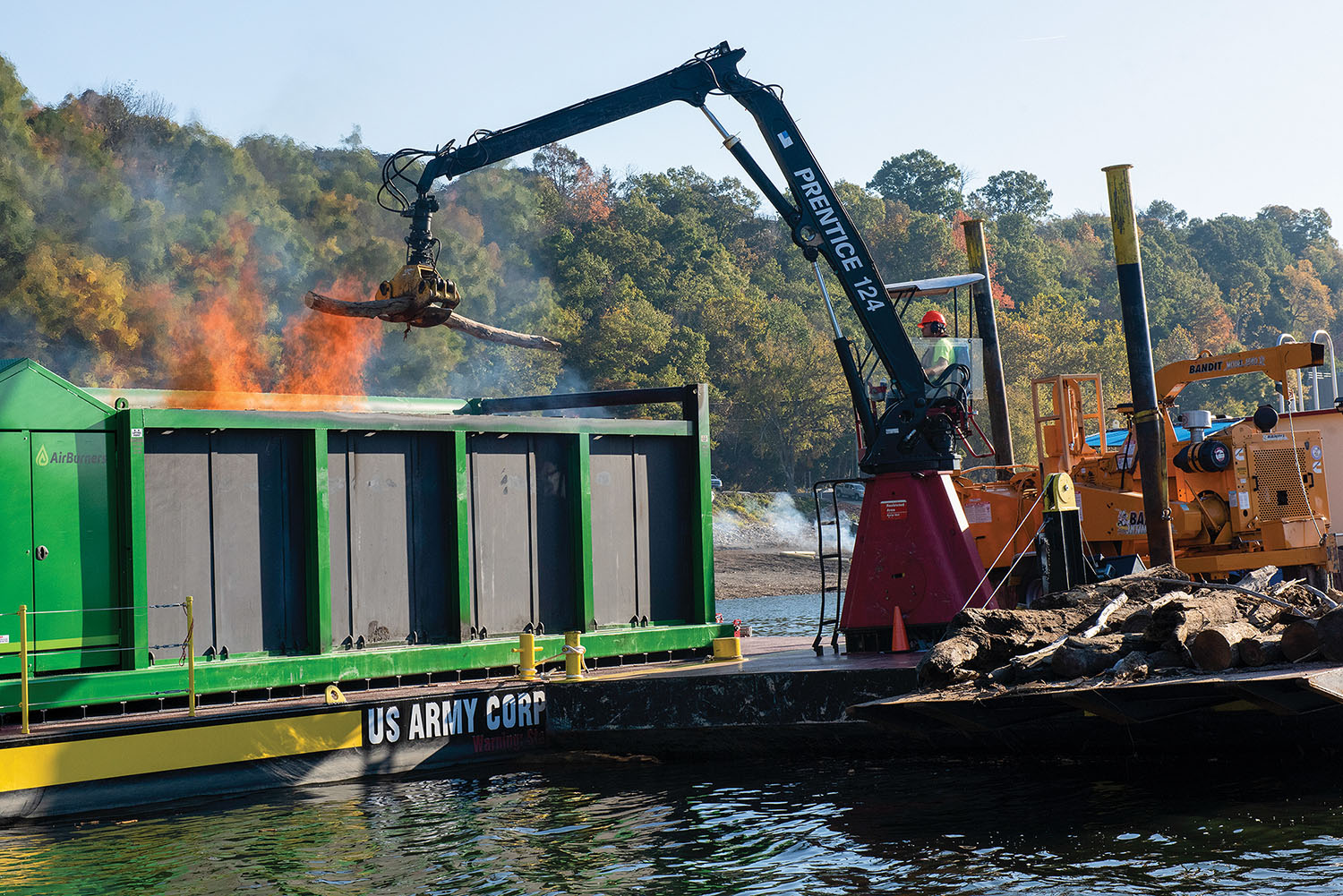 Nashville Corps Barge, Incinerator Burn Through Debris