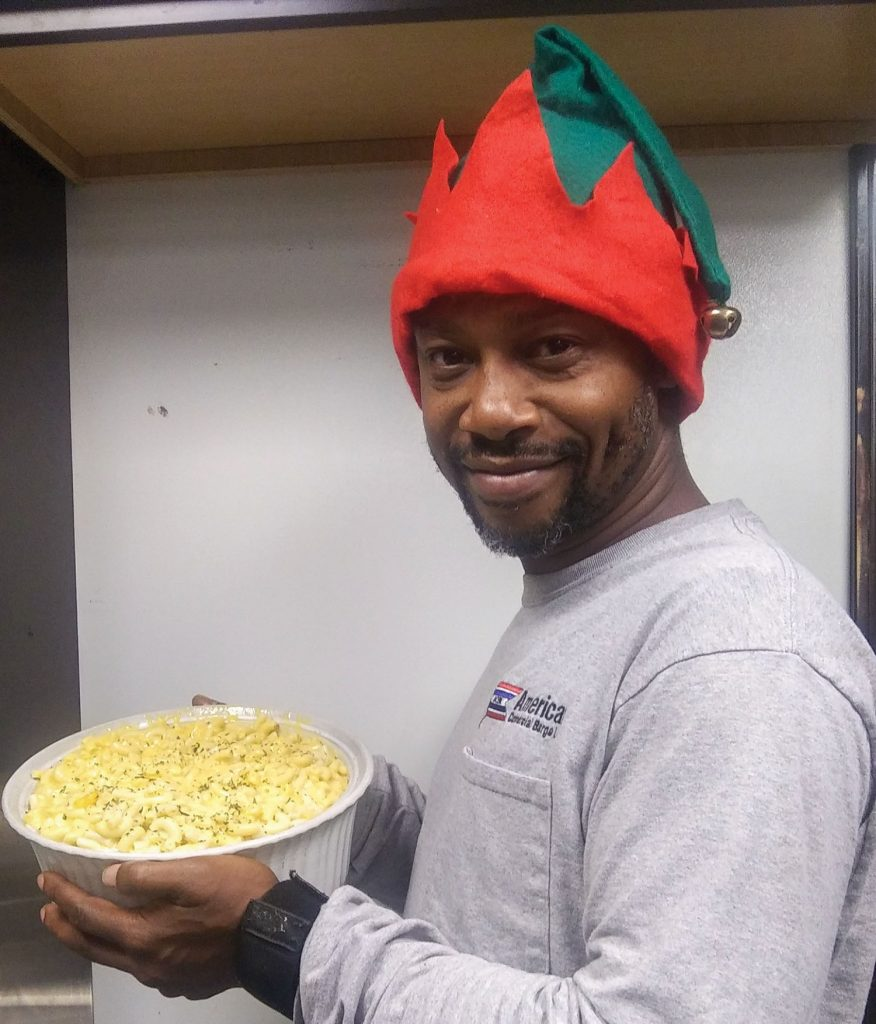 Alphonse Patterson with Patterson macaroni and cheese.