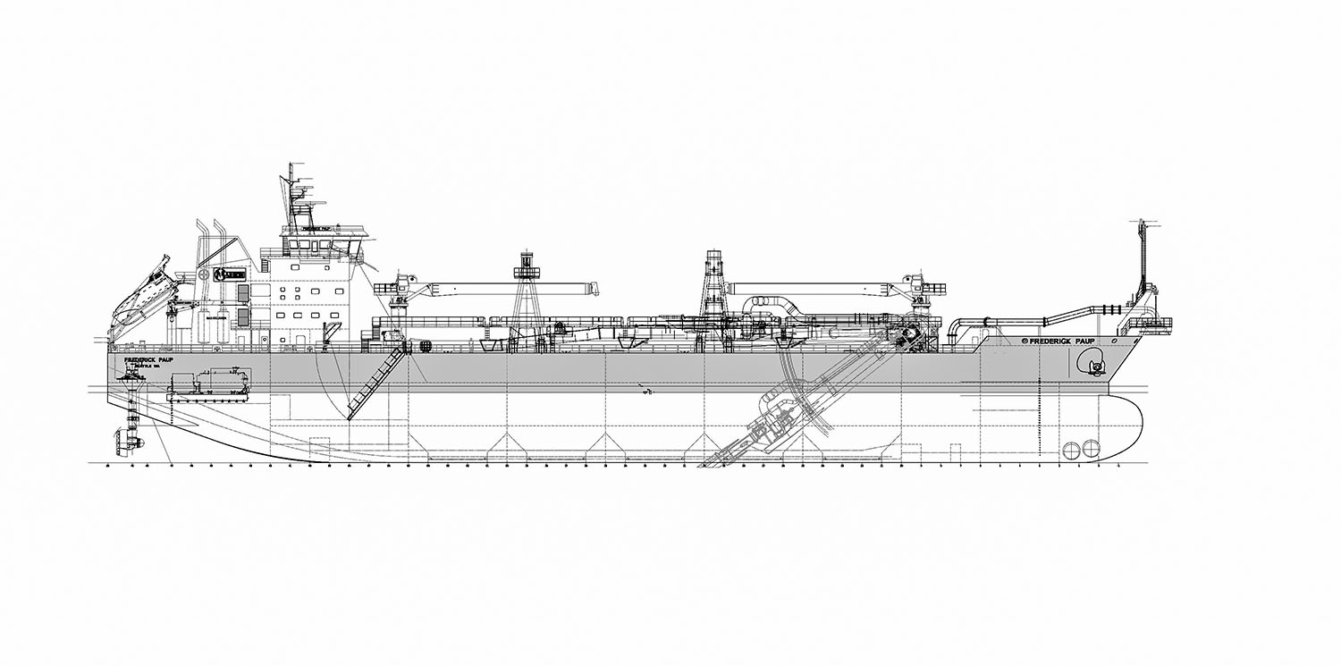 Drawing of the dredge Frederick Paup, which is under construction at Keppel AmFELS for Manson Construction Company.