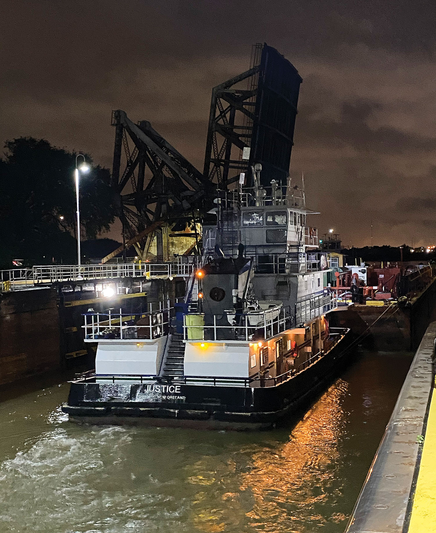 The mv. Justice was the first boat through the newly reopened IHNC Lock. (Photo courtesy of New Orleans Engineer District)