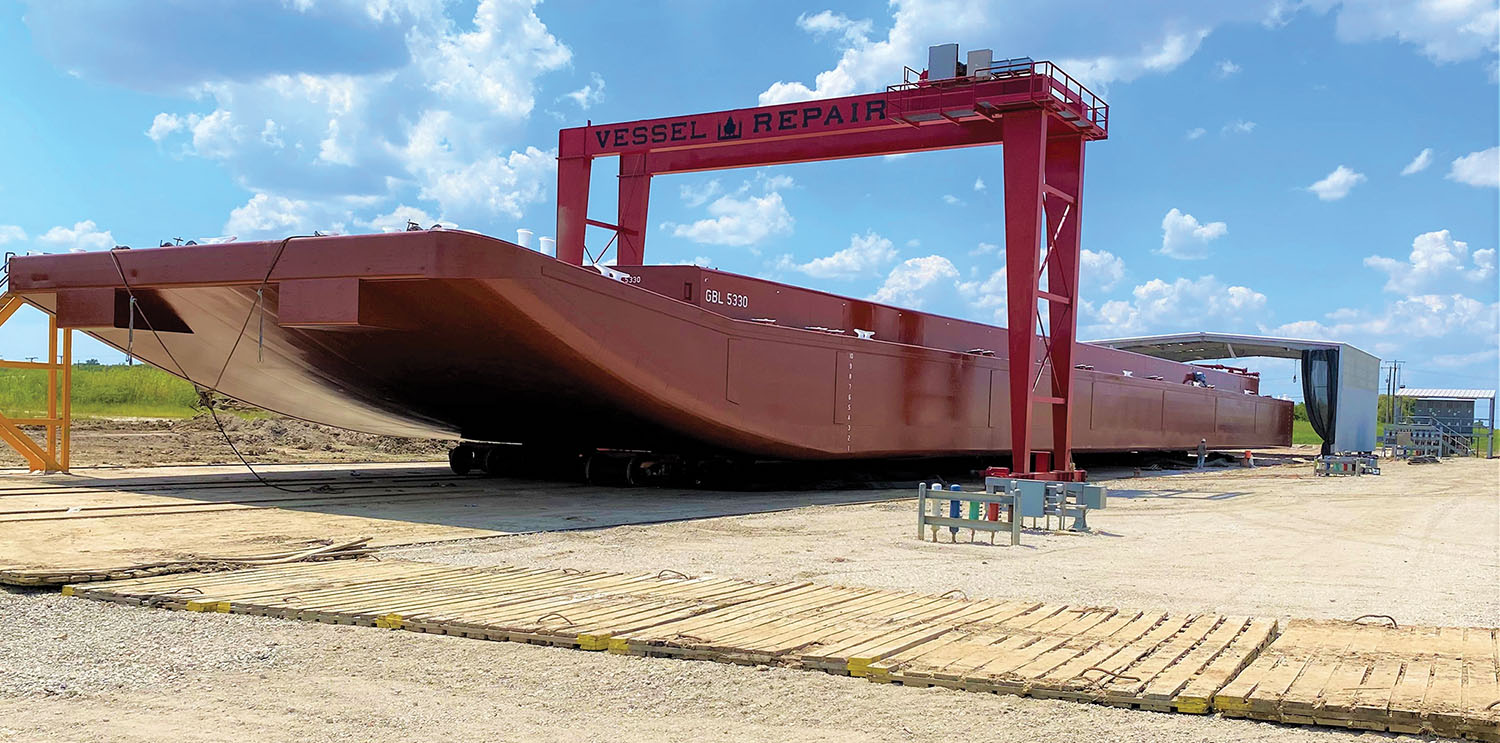 In addition to the new drydock, Vessel Repair also has added a rolling gantry crane and rolling blast and paint building to its Port Arthur, Texas, shipyard.