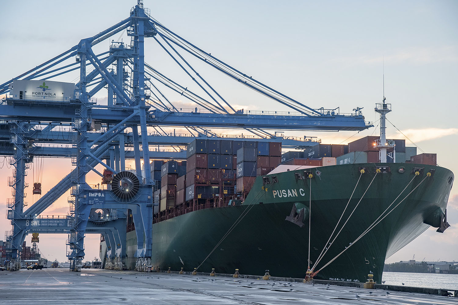 The CMA CGM Pusan C vessel, one of the largest vessels to-date that calls at Port NOLA's current container facility at the Napoleon Avenue Container Terminal. (Photo courtesy of Port NOLA)