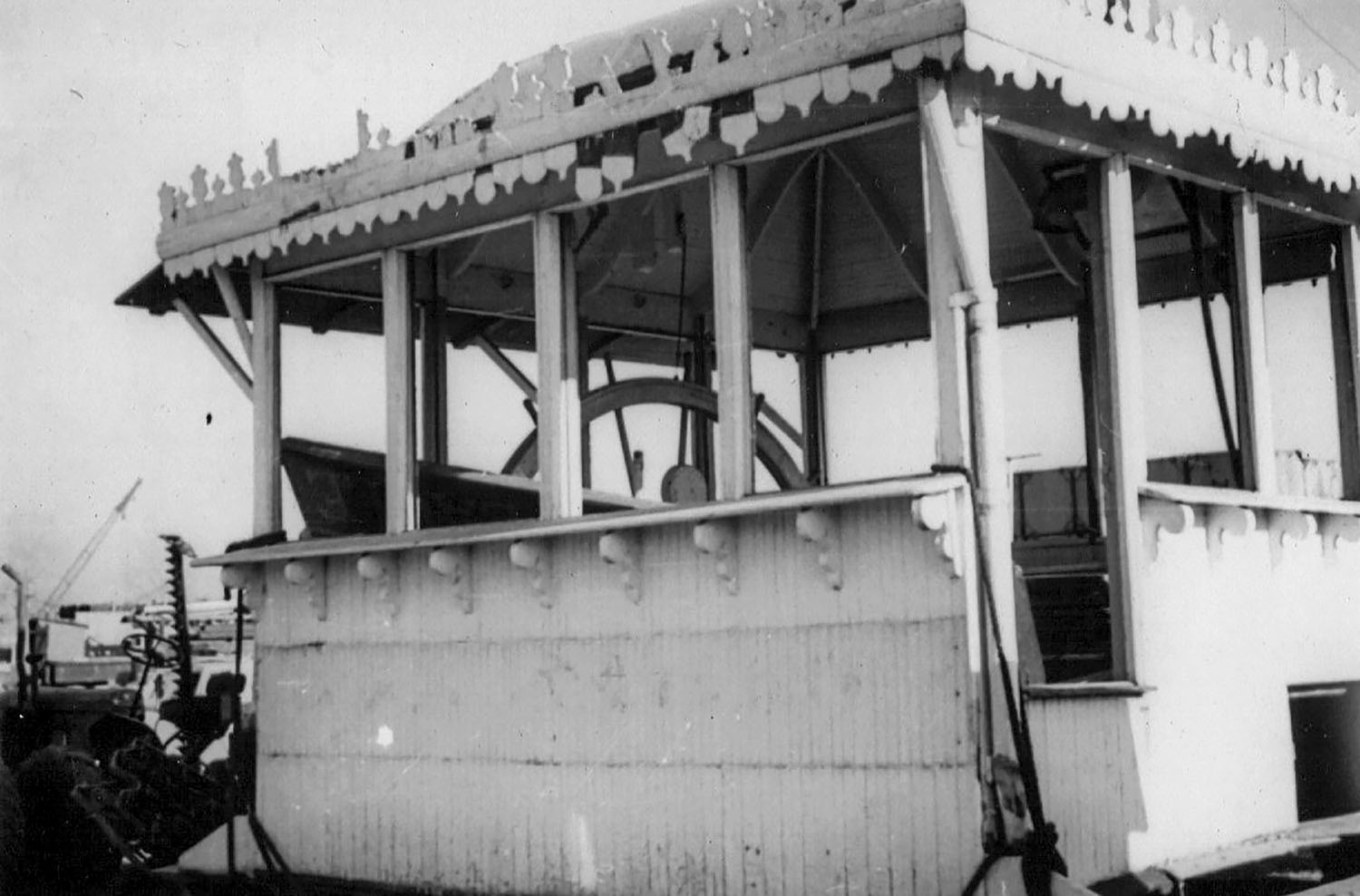 Pilothouse of the Golden Eagle shortly after being salvaged from the wreck in 1947. (Photo from Keith Norrington collection)