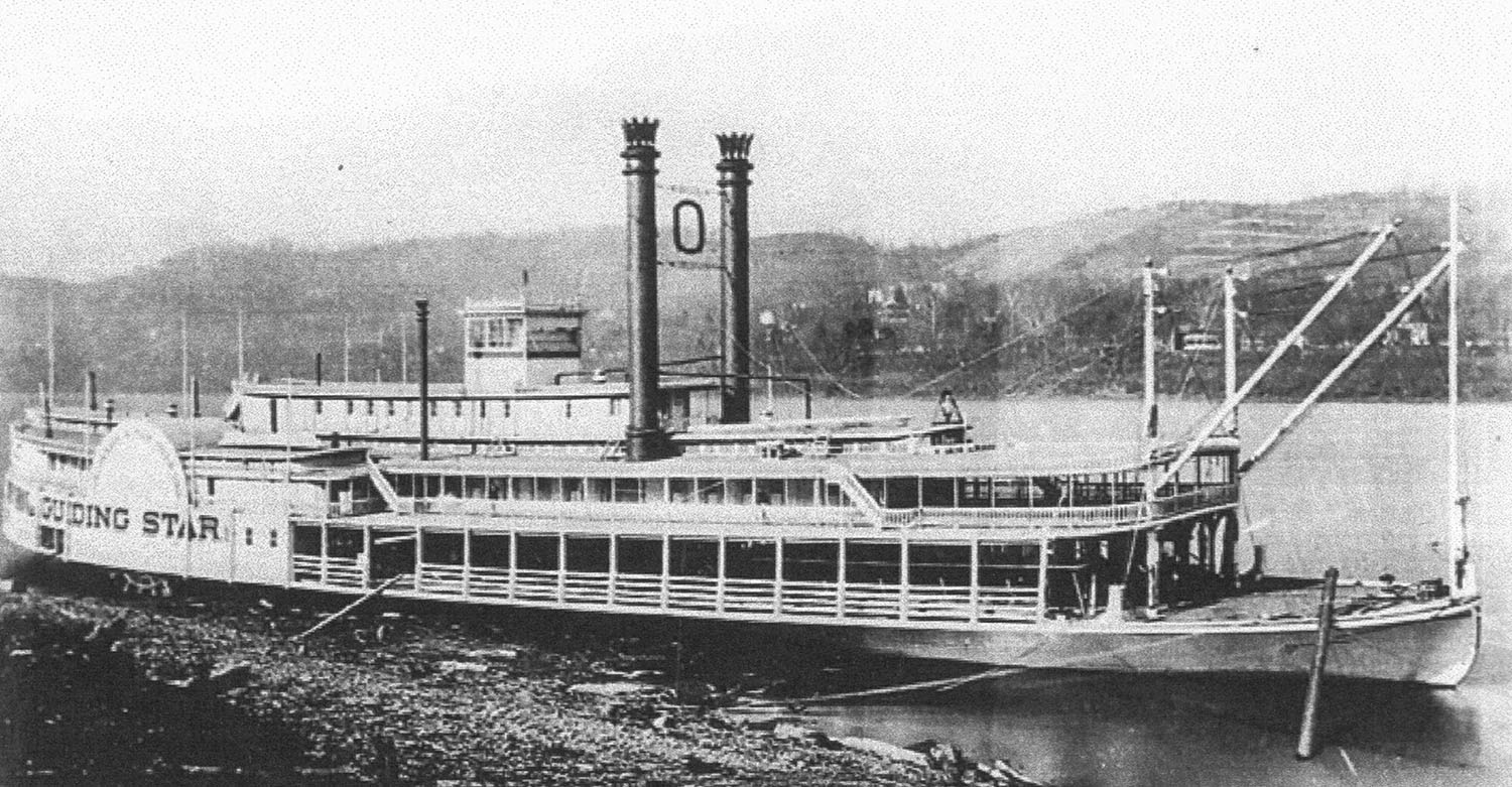 The Guiding Star as a new boat at Cincinnati in 1878. (Keith Norrington collection)