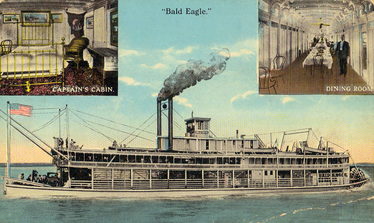 A vintage post card of the steamer Bald Eagle. (Keith Norrington collection)