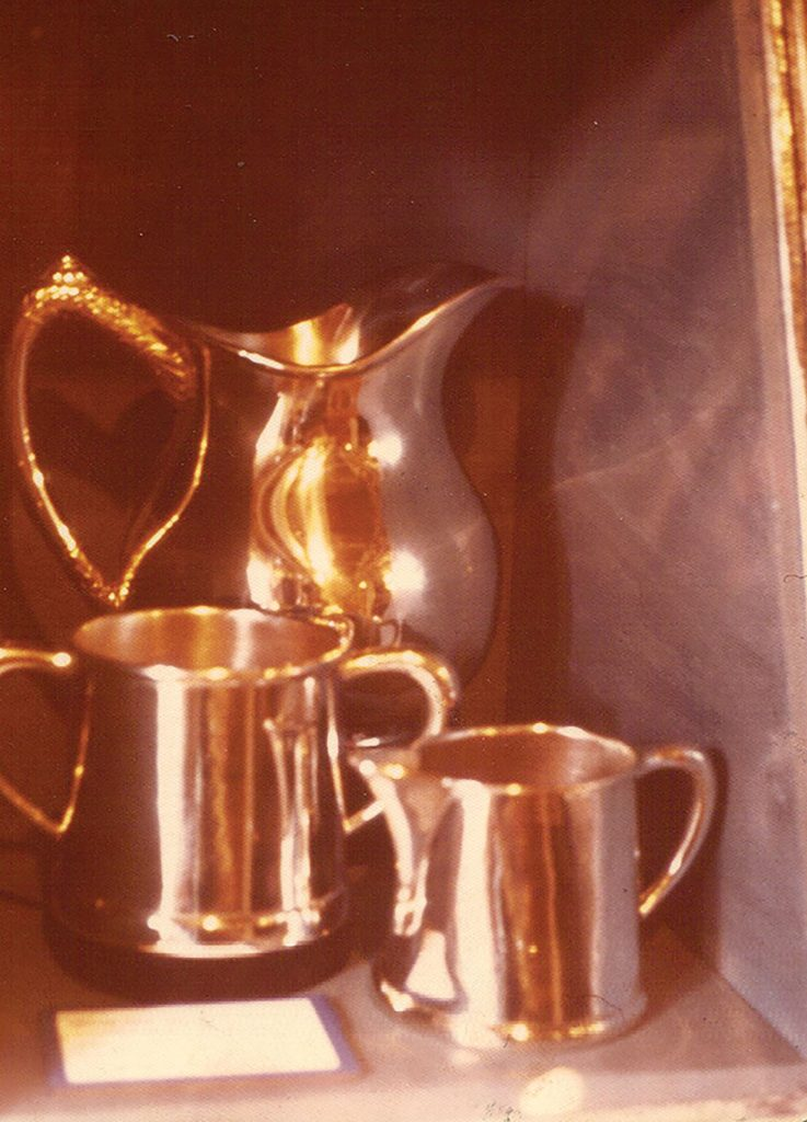 Silver from the Bald Eagle as displayed in the riverboat museum aboard the Str. Becky Thatcher at St. Louis in 1969. (Keith Norrington collection)