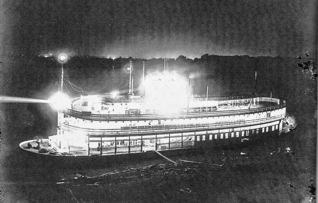 Aglow in lights, the steamer J.S. undergoes finishing st the Howard Shipyard in 1901. (Photo by Capt. Jim Howard; courtesy of the Howard Steamboat Museum)