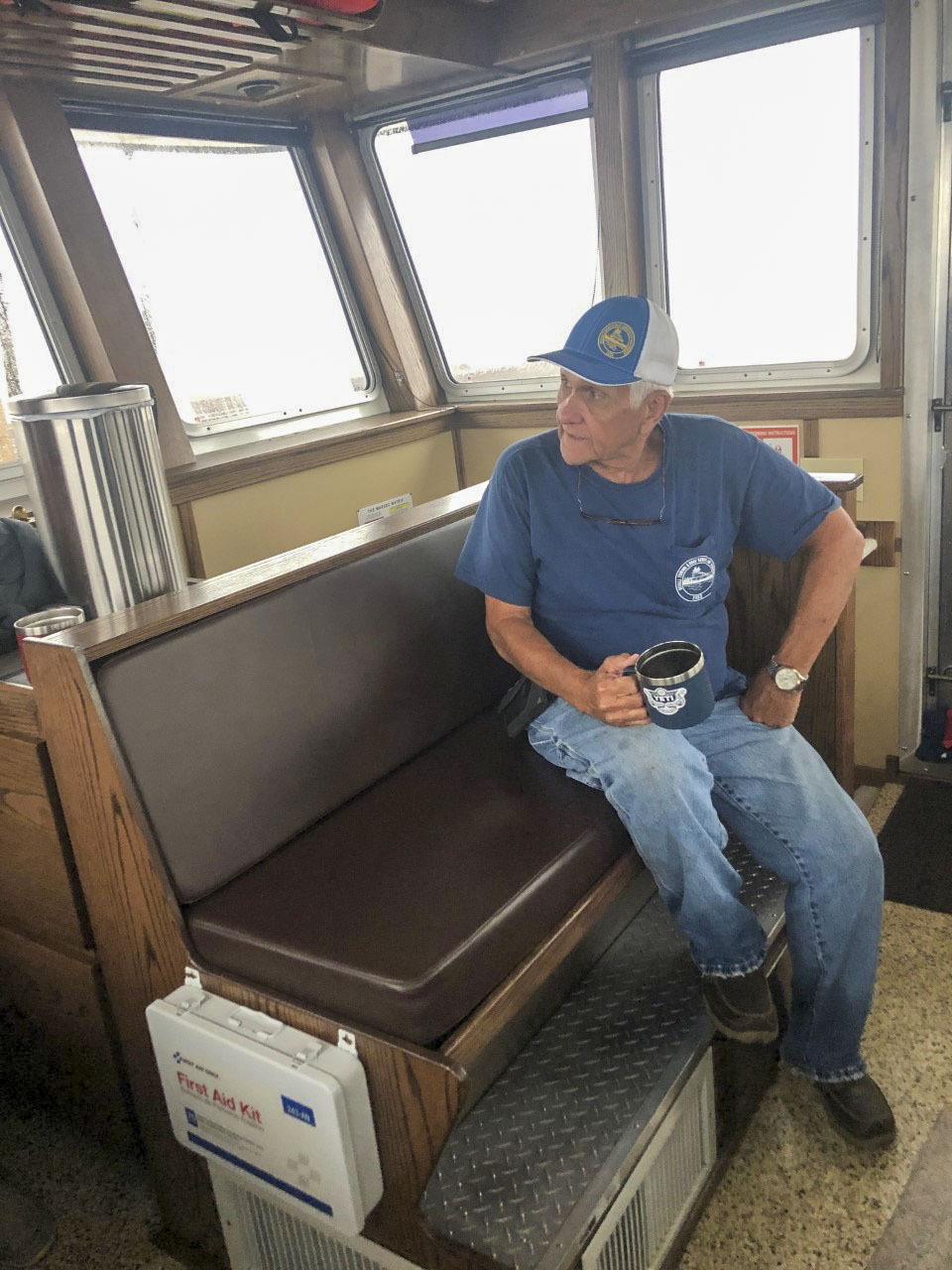 Devall Towing President Mike Devall staring out the wheelhouse window waiting for Laura to arrive. (Photo courtesy of Devall Towing)