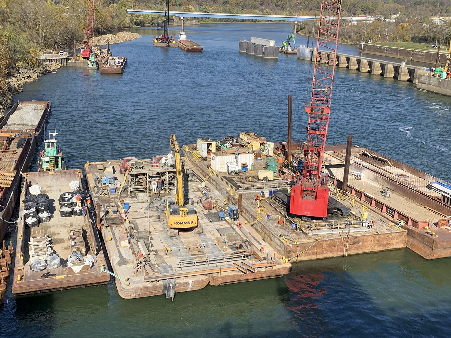 The work at Locks and Dam 4 in Charleroi also involves stilling basin extension work. (Photo courtesy of Pittsburgh Engineer District)