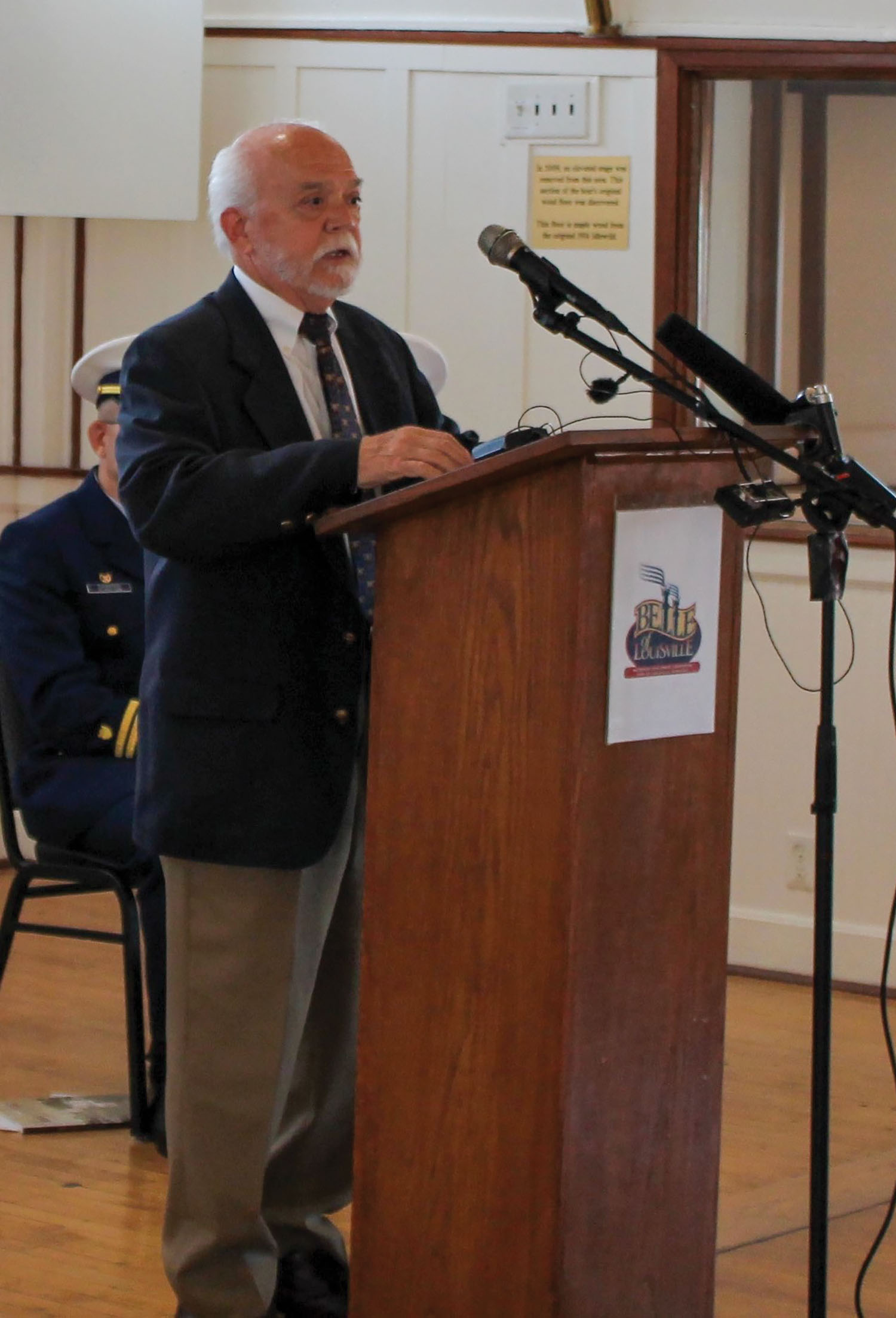 """Charles """"Chuck"""" Parrish speaks in a ceremony in 2017 aboard the Belle of Louisville. (Photo courtesy of the Belle of Louisville)"""