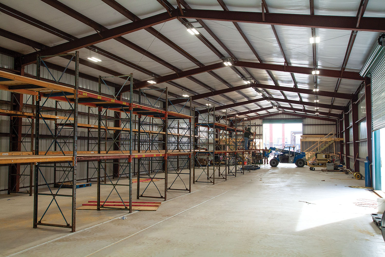 Shamrock Marine's new floating warehouse offers 7,200 square feet of storage space, divided into 88 bins that can fit one and two pallets' worth of supplies. (Photo by Frank McCormack)