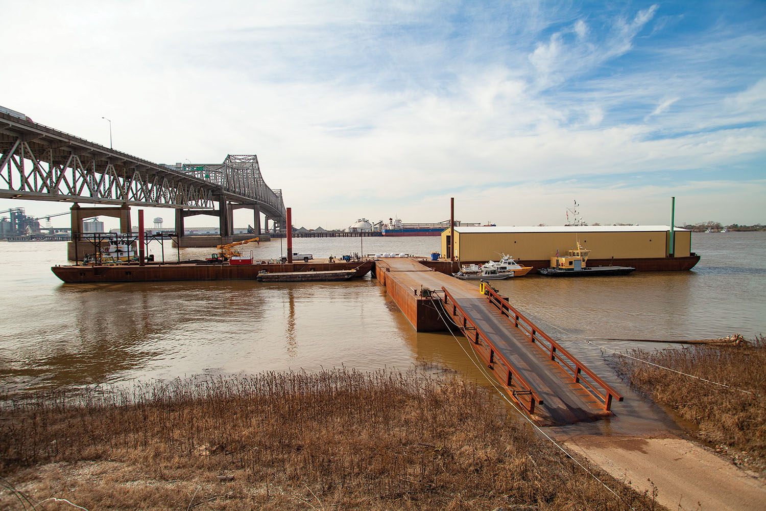 Shamrock Marine's new dock in Baton Rouge, La., provides shore-to-dock access in any river stage and offers crew change, mooring, supply storage and receiving services for marine companies. (Photo by Frank McCormack)